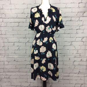 Navy Blue Floral Print Dress, Size S